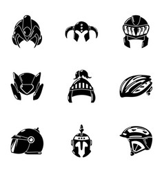Metal casque icons set simple style vector