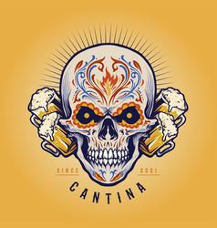 mexican sugar skull cantina beer mascot vector image
