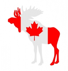 moose in flag of Canada vector image