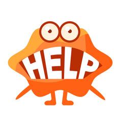 Orange blob saying help cute emoji character vector