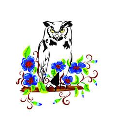 Owl in flowers vector