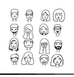 people face cartoon icon design vector image