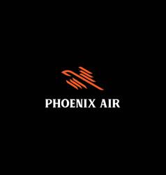 phoenix bird line logo design vector image