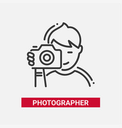 Photographer - line design single isolated icon vector