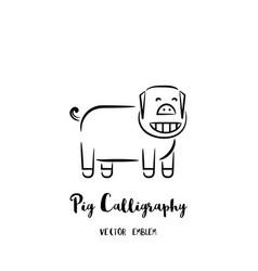 Pig calligraphy emblem vector