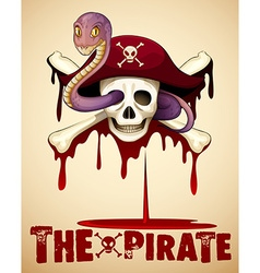 Pirate theme with skull and snake vector image