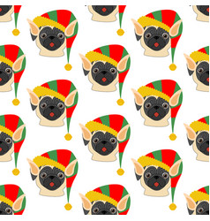 pug in elf costume seamless pattern vector image