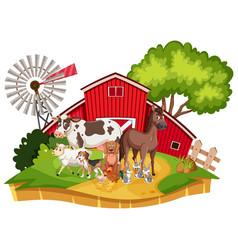 Scene with farm animals on farmyard vector