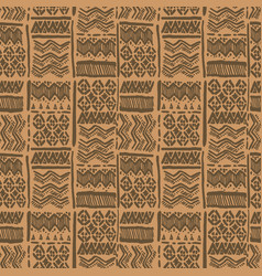 Seamless hand-drawn ethnic brown ornate vector