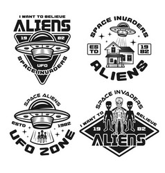 Set aliens and ufo emblems and badges vector