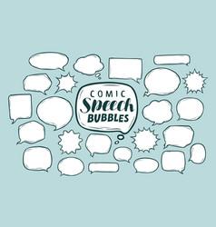 set comic speech bubbles doodle sketch vector image