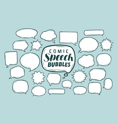 set of comic speech bubbles doodle sketch vector image