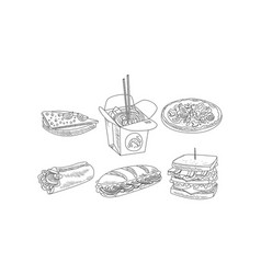 Set of fast food icons tasty sandwiches vector