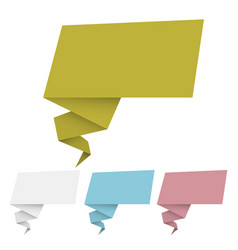 set of origami banner and speech bubbles vector image