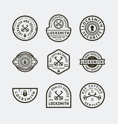 set of vintage locksmith logos retro styled key vector image