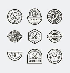 set vintage locksmith logos retro styled key vector image