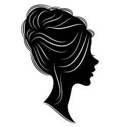silhouette head a sweet lady she shows vector image