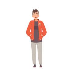 Smiling teenager boy in sport wear flat vector