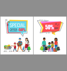 special offer with 50 off for family shopping vector image