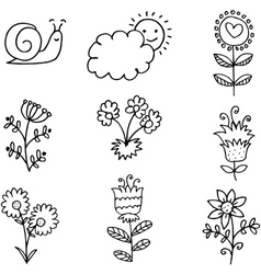 Spring theme item doodles vector