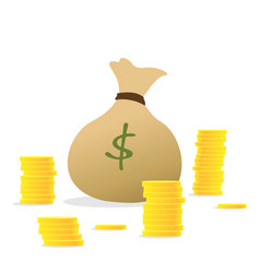 stacks of coins and money bag concept of money vector image