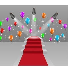 Stairs with red carpet and three lights vector