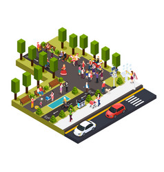 Street artists park isometric composition vector
