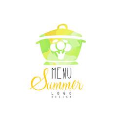 Summer menu logo element for vegetarian vector