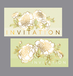 tender white peony flower with gold outline vector image