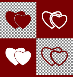 Two hearts sign bordo and white icons and vector