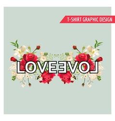 Vintage Floral Graphic Design Summer Roses vector