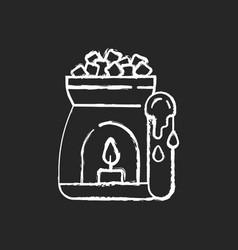 Wax warmer chalk white icon on black background vector