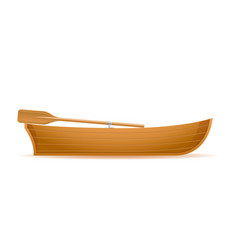 Wooden boat side view vector