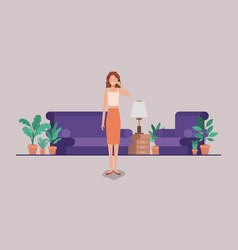 Young woman calling on the livingroom vector