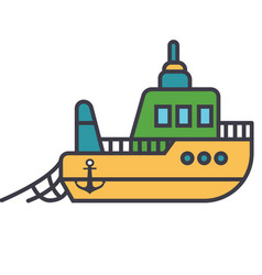 boat fishing flat line concept vector image