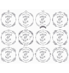 Collection of floral handdrawn frames vector