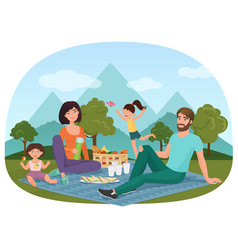 parents and children having a picnic outside near vector image vector image