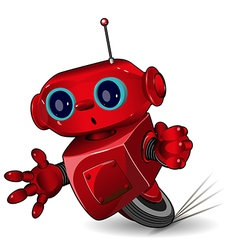 Red robot speed in a bend vector image