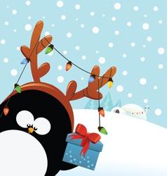 Reindeer Costumed Penguin With Gift vector image vector image
