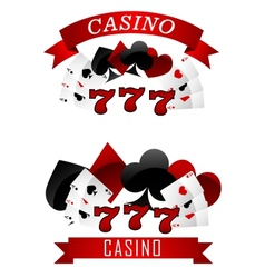 Gambling emblems or signs vector image vector image