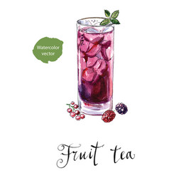 glass of fruit tea with mint vector image vector image