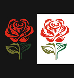red rose logo emblem on black and white background vector image vector image
