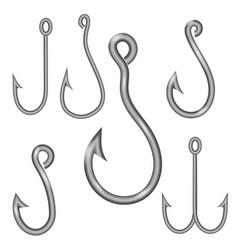 set of different steel hooks vector image