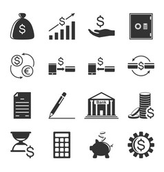 set of finance related icons isolated on white vector image vector image