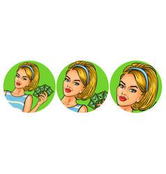 set of womens pop art round vector image vector image