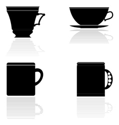 silhouettes of tea cups vector image vector image