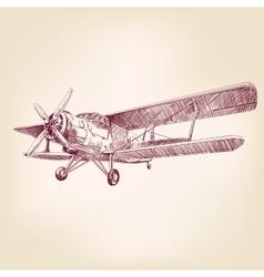 airplane vintage hand drawn llustration vector image vector image