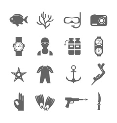 Diving icons black vector image