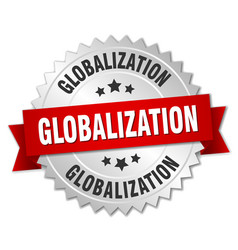 globalization round isolated silver badge vector image vector image