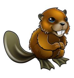 happy cartoon beaver vector image vector image